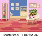 background with two rooms. pink ... | Shutterstock .eps vector #1100455907
