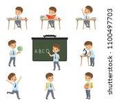 cute schoolboy student in... | Shutterstock .eps vector #1100497703