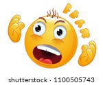 emoticon face in horror. the... | Shutterstock .eps vector #1100505743