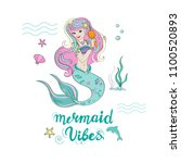 a beautiful mermaid combs the... | Shutterstock . vector #1100520893