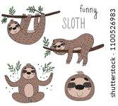 vector set of cute sloths.... | Shutterstock .eps vector #1100526983