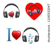 music themed promo emblems with ... | Shutterstock .eps vector #1100532047