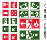 evacuation and emergency signs... | Shutterstock .eps vector #1100532977