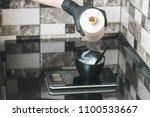 hair stylist pouring an oxidant ...   Shutterstock . vector #1100533667