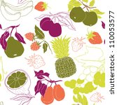 assorted fruits seamless pattern | Shutterstock .eps vector #110053577