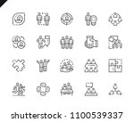 simple set teamwork line icons... | Shutterstock .eps vector #1100539337