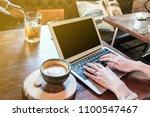 women hand close up typing... | Shutterstock . vector #1100547467