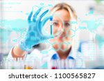 female scientist in protective... | Shutterstock . vector #1100565827