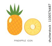 pineapple tropical fruit and... | Shutterstock .eps vector #1100576687