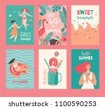 hello summer cards. set of... | Shutterstock .eps vector #1100590253