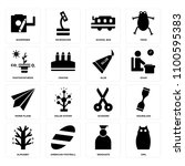 set of 16 icons such as owl ...