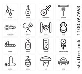 set of 16 icons such as geta ...