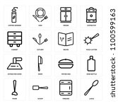 set of 16 icons such as ladle ...