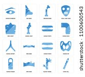 set of 16 icons such as cone...