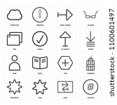 set of 16 icons such as hashtag ...