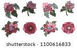 peony flower line thai style...   Shutterstock .eps vector #1100616833