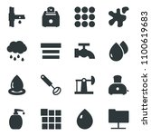 black vector icon set water...