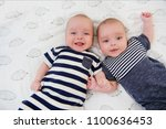 two adorable twin babies posing ... | Shutterstock . vector #1100636453