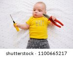 adorable baby wearing t shirt... | Shutterstock . vector #1100665217