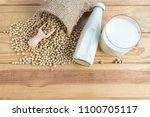 soy beans and soy milk in a... | Shutterstock . vector #1100705117
