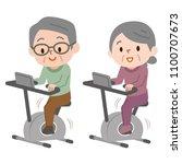senior couple doing bike... | Shutterstock .eps vector #1100707673