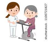 senior woman exercising on... | Shutterstock .eps vector #1100721827