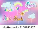 vector set with rainbow  cloud  ... | Shutterstock .eps vector #1100733557