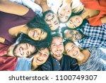 multiracial best friends... | Shutterstock . vector #1100749307