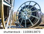 modern cable drum close up at a ...   Shutterstock . vector #1100813873