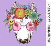 hippie bull terrier in the... | Shutterstock .eps vector #1100875907