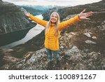 happy girl success raised hands ... | Shutterstock . vector #1100891267