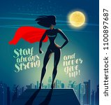 superhero woman standing on the ... | Shutterstock .eps vector #1100897687