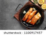 dish with tasty cooked salmon...   Shutterstock . vector #1100917457