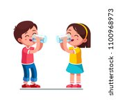 Smiling standing preschool boy and girl kids enjoying drinking water holding glasses. Happy, kids drinking water hydrating. Children cartoon characters. Quench thirst. Flat style vector illustration | Shutterstock vector #1100968973