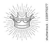 crown. hand drawn crown with... | Shutterstock .eps vector #1100970377