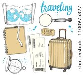 travel hand drawn set with... | Shutterstock .eps vector #1100975327