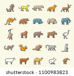 set of 25 minimalistic solid... | Shutterstock .eps vector #1100983823