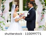beautiful caucasian couple just married - stock photo