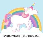 cute unicorn and rainbow vector ... | Shutterstock .eps vector #1101007553