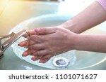 women wash their hands properly ... | Shutterstock . vector #1101071627
