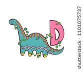 english letter d. dinosaur.... | Shutterstock .eps vector #1101075737