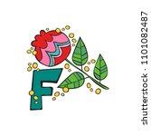english letter f. flower.... | Shutterstock .eps vector #1101082487