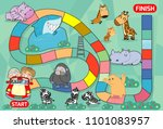 board game with zoo ... | Shutterstock .eps vector #1101083957