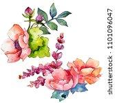 pink bouquet wildflower. floral ...   Shutterstock . vector #1101096047