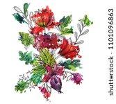 vintage vector floral... | Shutterstock .eps vector #1101096863