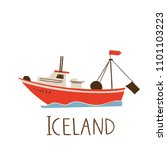 vector image of icelandic ship.  | Shutterstock .eps vector #1101103223