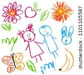 children's drawings. elements...   Shutterstock .eps vector #1101105587