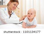 little baby visiting doctor.... | Shutterstock . vector #1101134177