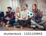 happy friends or football fans... | Shutterstock . vector #1101134843