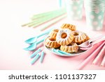 cakes and tablewares. birthday... | Shutterstock . vector #1101137327